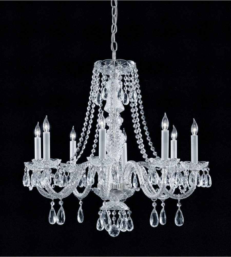Crystorama 5048 ch cl mwp traditional crystal 8 light chandelier in polished chrome - Traditional crystal chandeliers ...