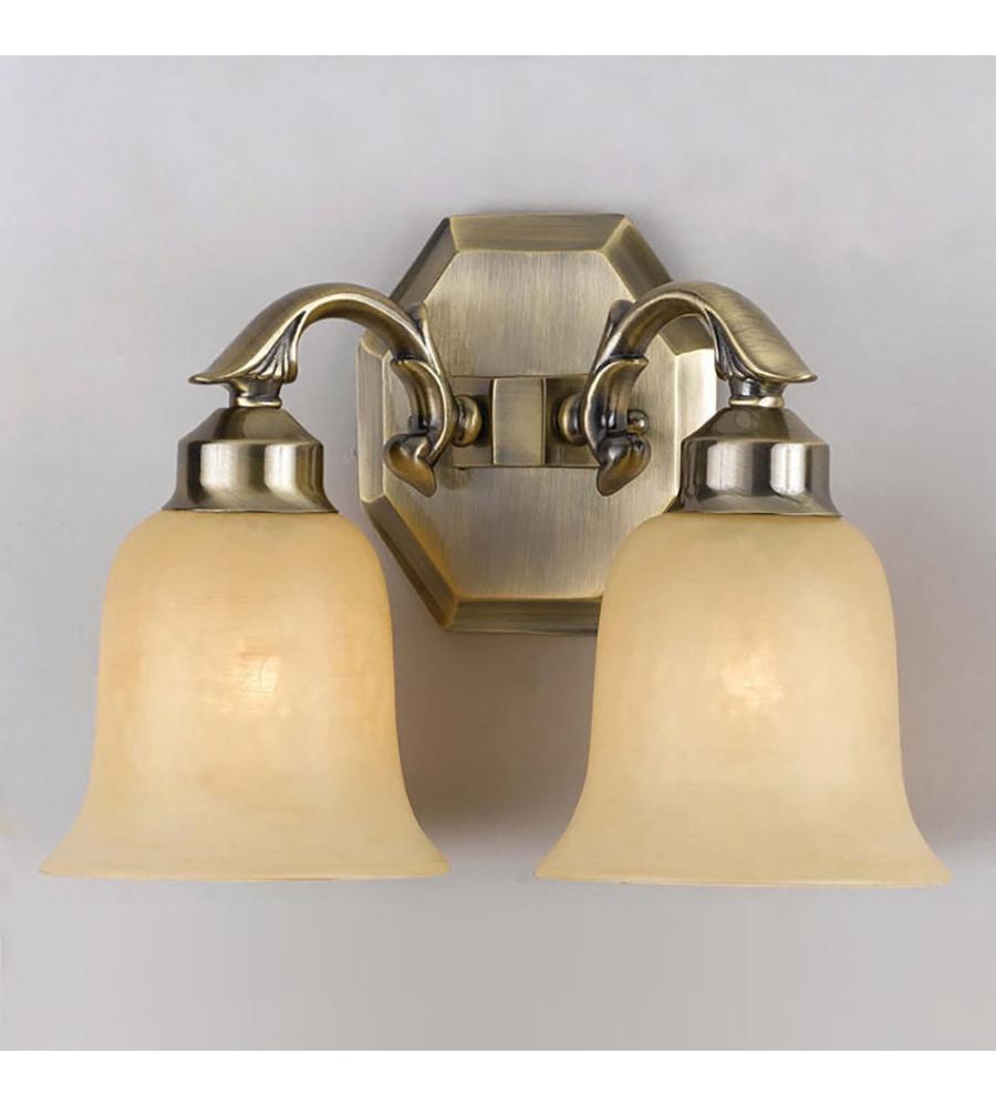 Colonial Brass Wall Sconces : Crystorama 872-AG Colonial 2 Light Wall Sconce in Aged Brass FoundryLighting.com