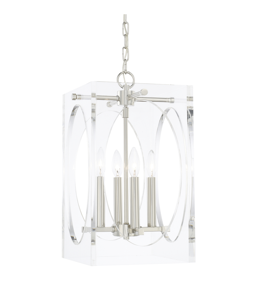 crystorama 8874 pn drake 4 light chandelier in polished nickel