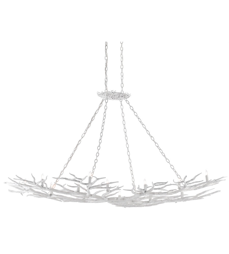 Currey Company 9000 0366 Rainforest Chandelier In Gesso White