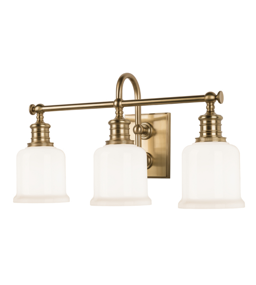 Hudson Valley 1973 Agb Keswick 3 Light Bath Bracket In Aged Brass Foundrylighting Com