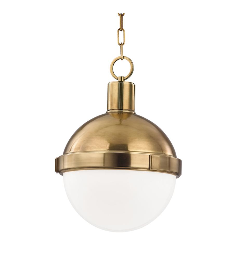 hudson valley 609 agb lambert 1 light pendant in aged brass