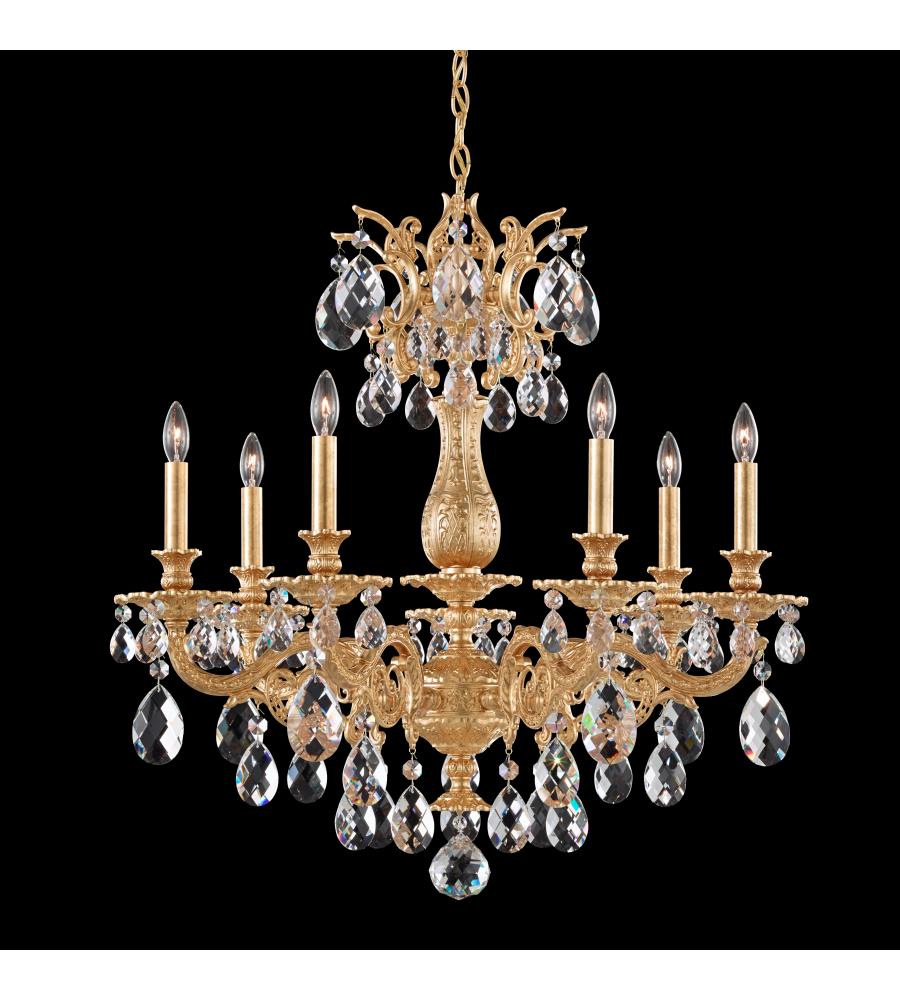 Schonbek 5677 26a milano 7 light 110v chandelier in french gold with schonbek 5677 26a milano 7 light 110v chandelier in french gold with clear spectra crystal foundrylighting arubaitofo Gallery