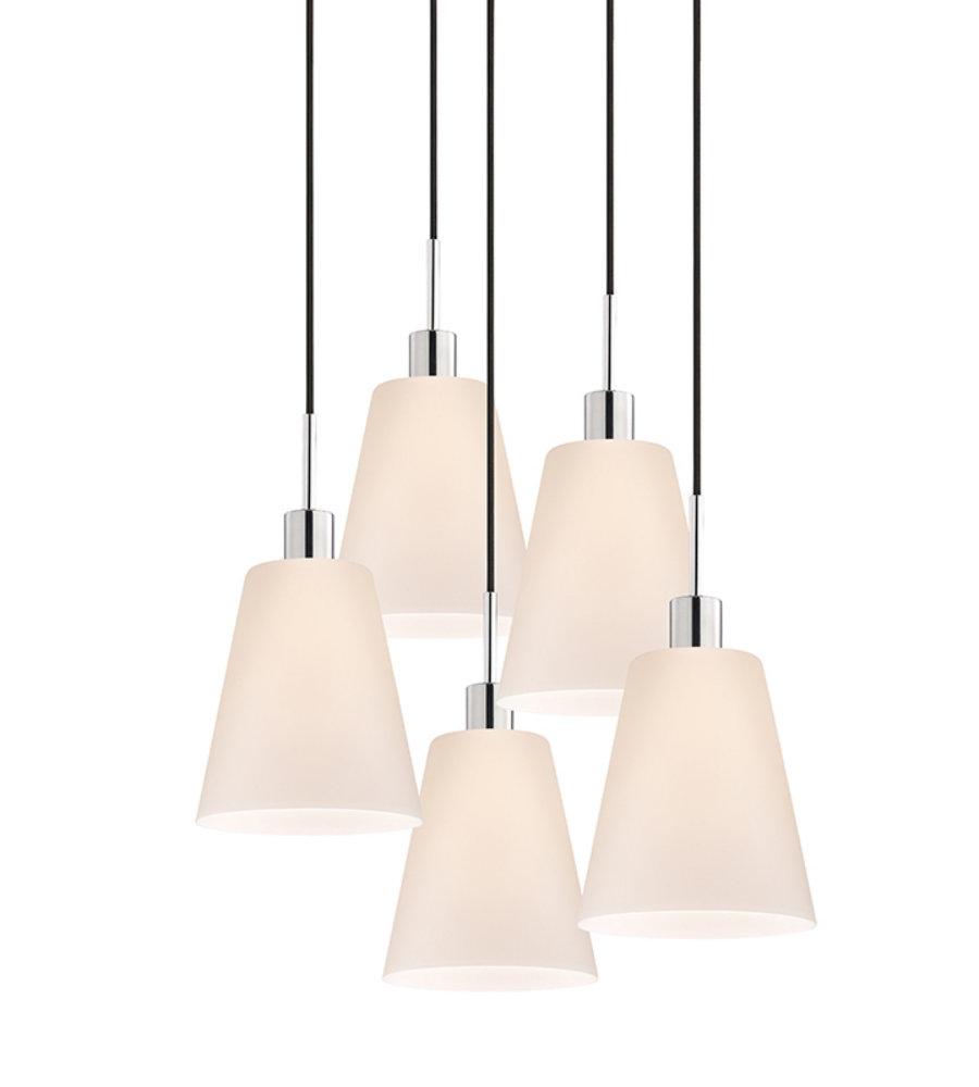 sonneman 356201k5 glass pendants 5 light tall cone 5light pendant in polished chrome - Sonneman Lighting