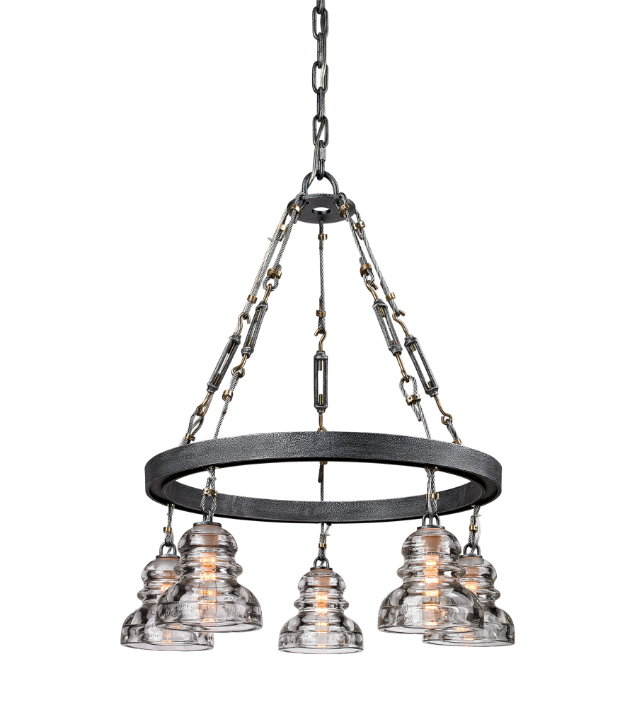 Troy Lighting F3135 Menlo Park 5 Light Chandelier In Old Silver Foundrylighting Com