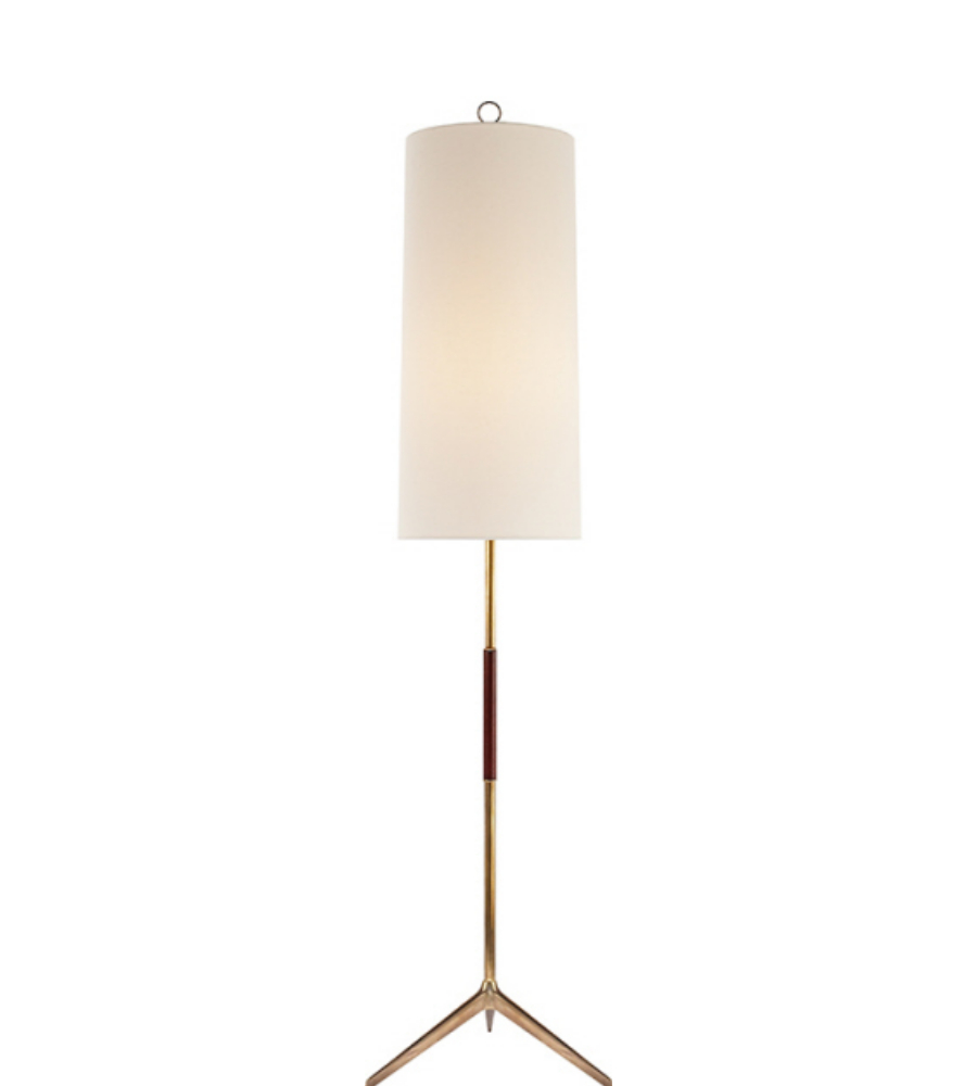 Visual Comfort ARN 1001HAB L AERIN Modern Frankfort Floor Lamp In  Hand Rubbed Antique Brass With Mahogany Accents And Linen Shade |  FoundryLighting.com