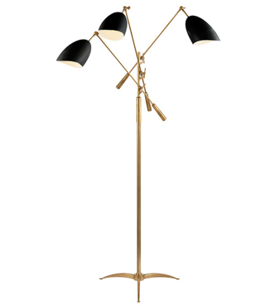 Visual comfort arn 1009hab blk aerin modern sommerard triple arm visual comfort arn 1009hab blk aerin modern sommerard triple arm floor lamp in hand rubbed antique brass with black foundrylighting aloadofball Choice Image