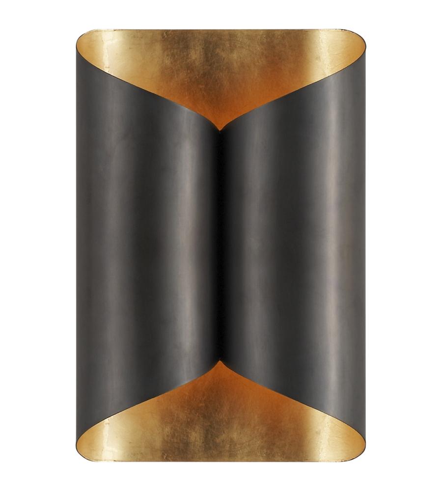 visual comfort sconces. Visual Comfort ARN 2036BZ AERIN Modern Selfoss Sconce In Bronze With Gild Interior | FoundryLighting.com Sconces