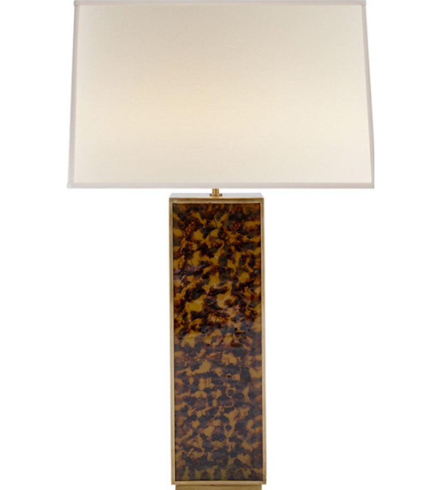 tortoise lighting. Visual Comfort ARN 3011TOR-L AERIN Casual Beecher Table Lamp In Faux Tortoise With Linen Shade | FoundryLighting.com Lighting