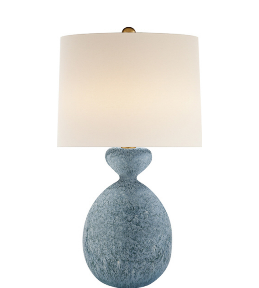 Blue modern table lamp - Visual Comfort Arn 3606bll L Aerin Modern Gannet Table Lamp In Blue Lagoon With Linen Shade