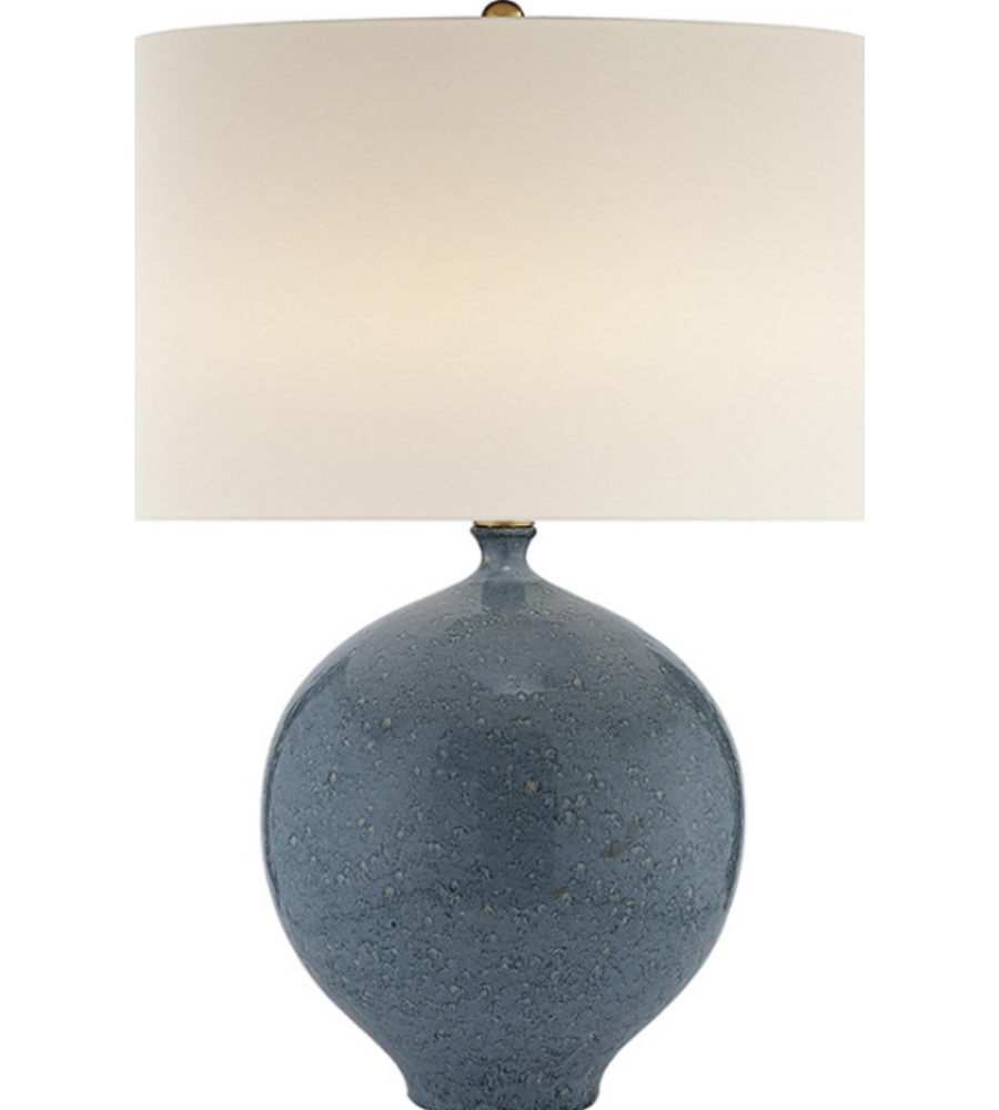 Visual Comfort ARN 3610BLL L AERIN Casual Gaios Table Lamp In Blue Lagoon  With Linen Shade | FoundryLighting.com