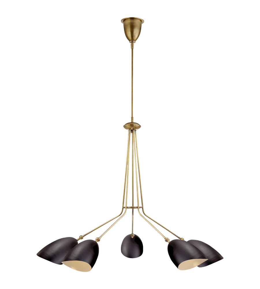 Visual comfort arn 5010hab blk aerin modern sommerard medium five visual comfort arn 5010hab blk aerin modern sommerard medium five light chandelier in hand rubbed antique brass with black shades foundrylighting aloadofball Image collections