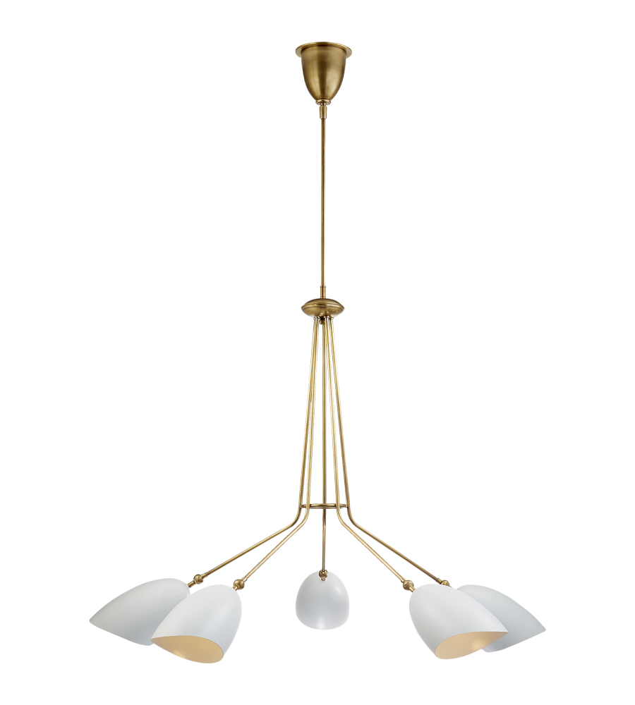 Visual comfort arn 5010hab wht aerin modern sommerard medium five visual comfort arn 5010hab wht aerin modern sommerard medium five light chandelier in hand rubbed antique brass with white shades foundrylighting aloadofball Image collections