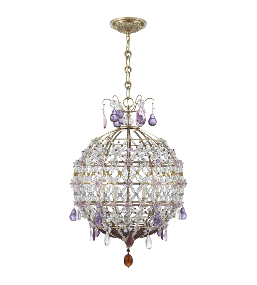 Visual comfort arn 5106hab aerin traditional heather chandelier in visual comfort arn 5106hab aerin traditional heather chandelier in hand rubbed antique brass with clear amber and amethyst glass foundrylighting mozeypictures Gallery