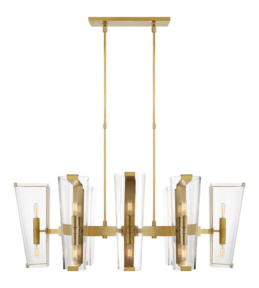 Visual Comfort ARN 5312HAB-CG AERIN Modern Alpine Medium Linear Chandelier in Hand-Rubbed Antique Brass with Clear Glass   FoundryLighting.com  sc 1 st  Foundry Lighting & Visual Comfort ARN 5312HAB-CG AERIN Modern Alpine Medium Linear ...