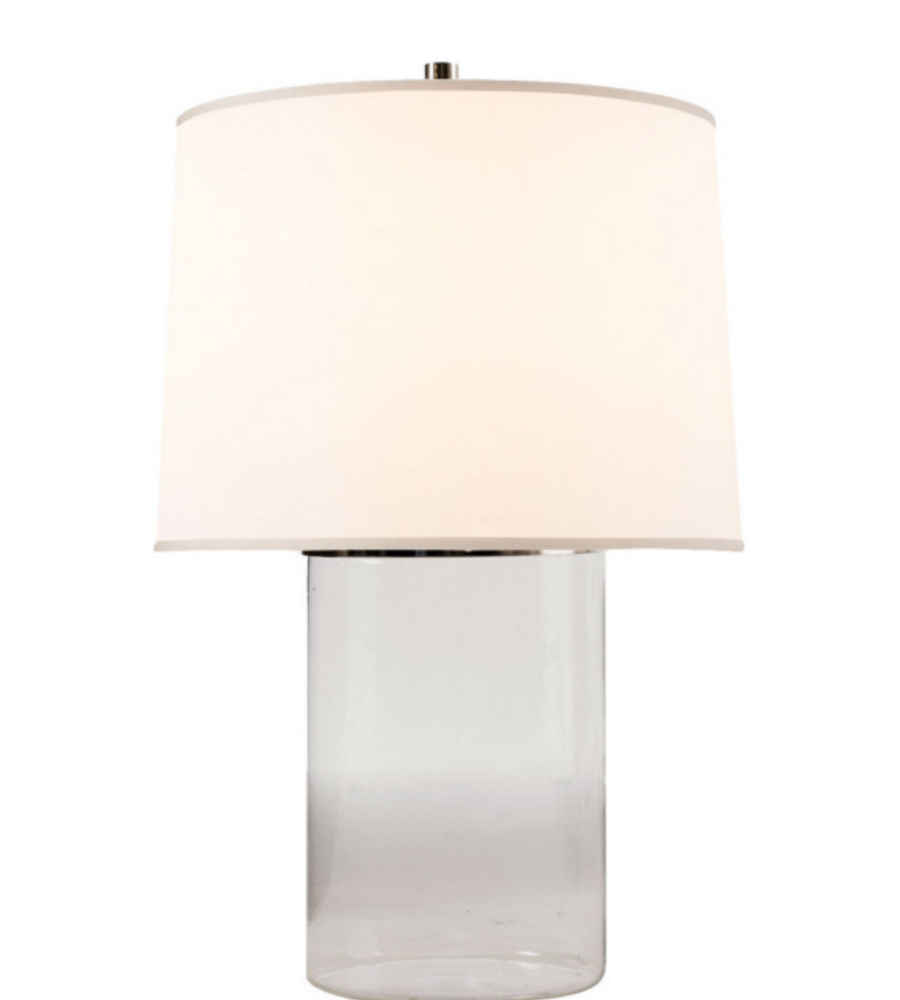 Visual Comfort BBL 3009CG S Barbara Barry Modern Simple Cylinder Table Lamp  In Clear Glass With Silk Shade | FoundryLighting.com