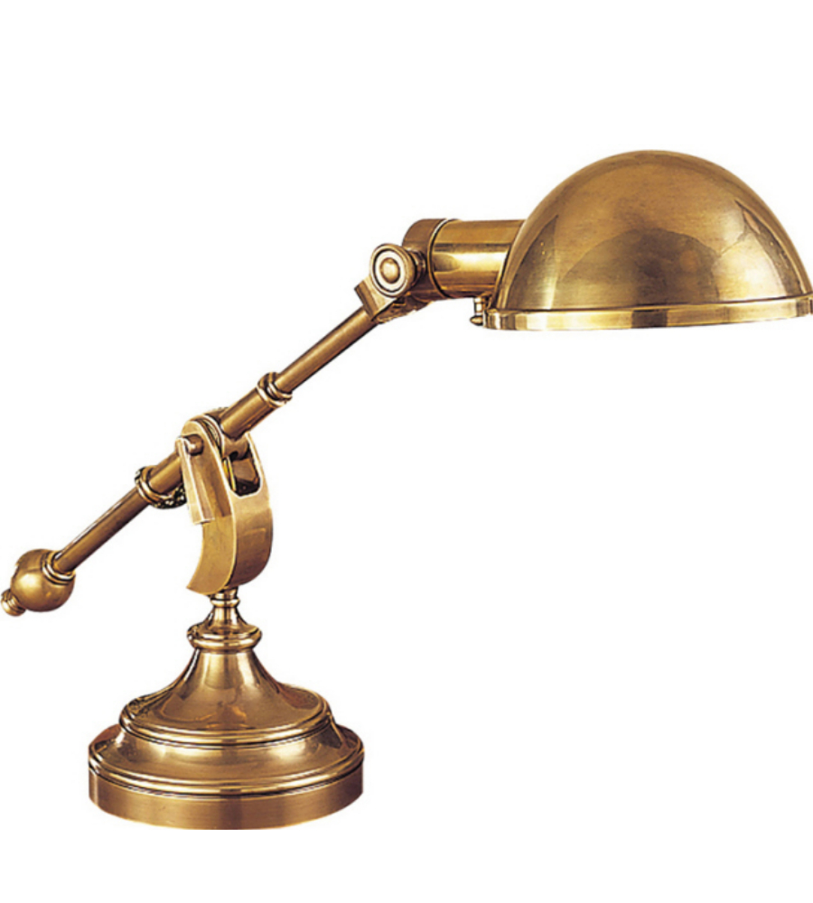 boom arm desk lamp in antique burnished brass. Black Bedroom Furniture Sets. Home Design Ideas