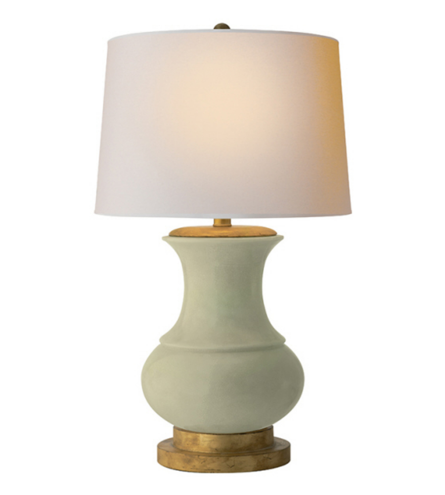Visual Comfort CHA 8608CC NP E. F. Chapman Traditional Deauville Table Lamp  In Celadon Crackle With Natural Paper Shade | FoundryLighting.com
