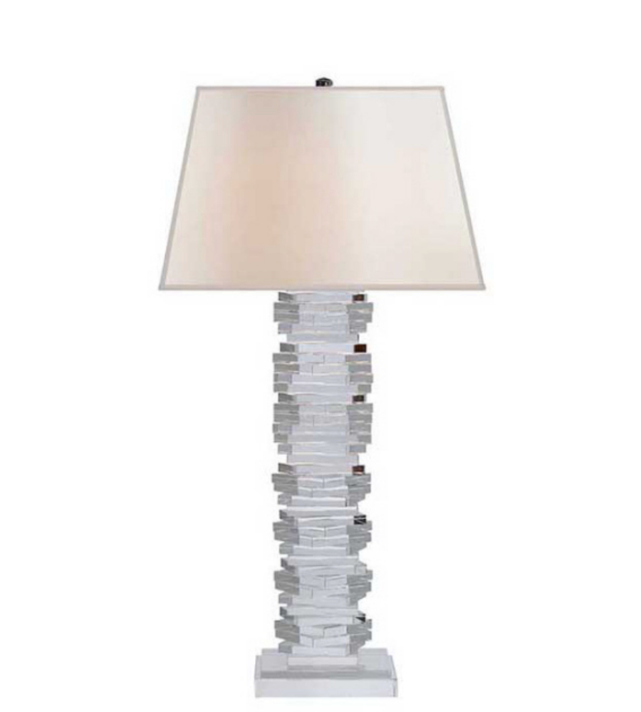 small table lamp in crystal with silk shade. Black Bedroom Furniture Sets. Home Design Ideas