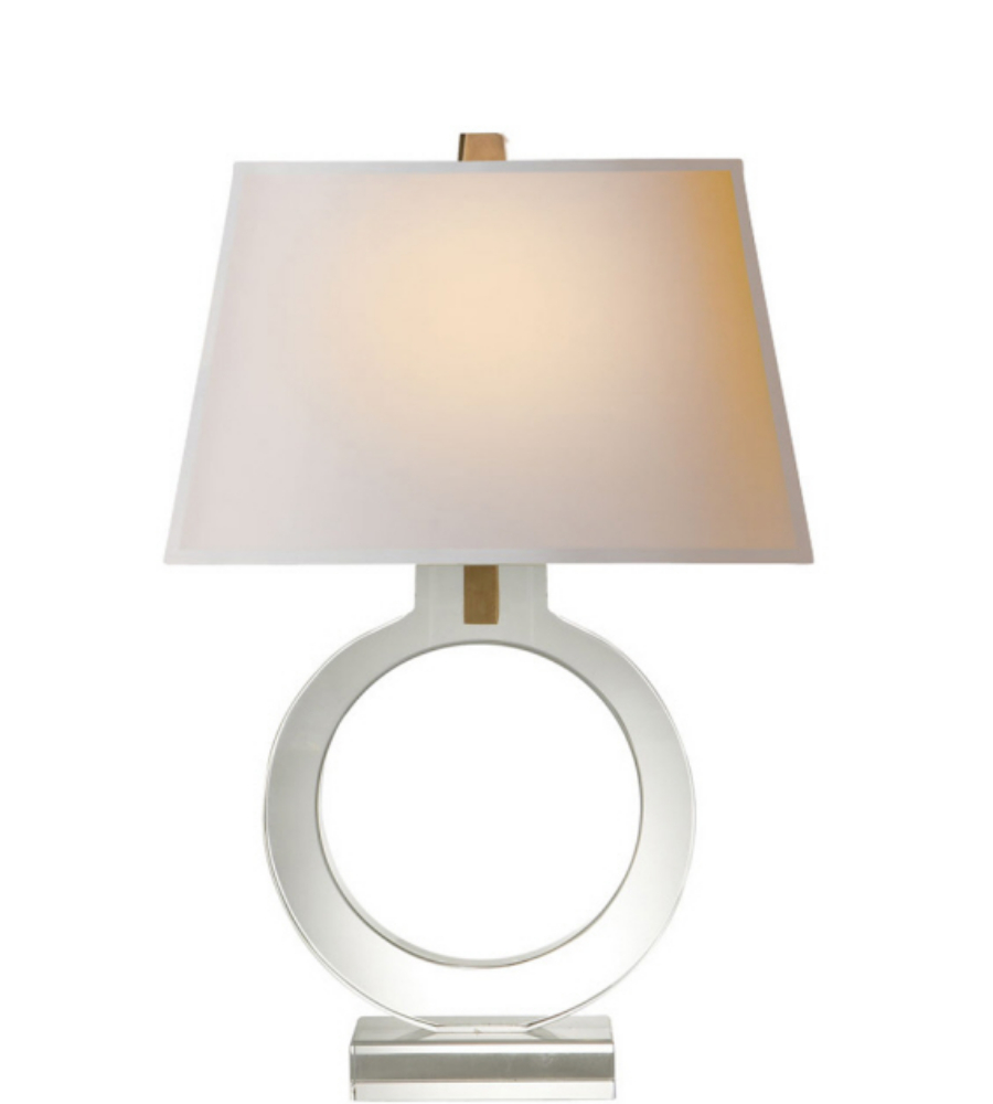 small table lamp in crystal with natural paper shade foundrylighting. Black Bedroom Furniture Sets. Home Design Ideas