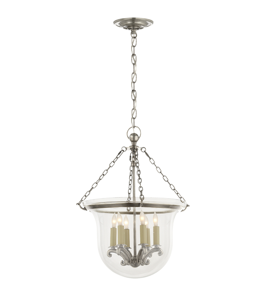Visual Comfort Chc 2117an E F Chapman Traditional Country Medium Bell Jar Lantern In Antique Nickel Foundrylighting Com