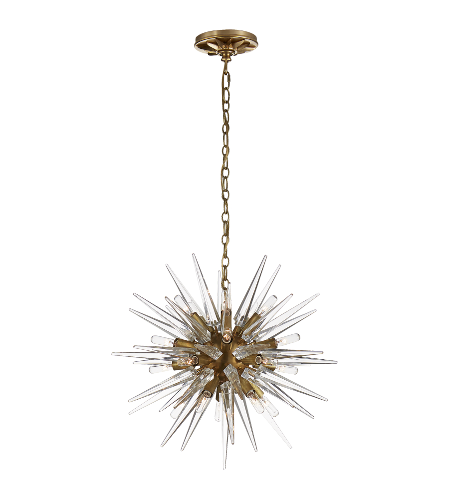 Visual Comfort Chc 5286ab Ca E F Chapman Modern Quincy Small Sputnik Chandelier In Antique Burnished Brass With Clear Acrylic Foundrylighting Com