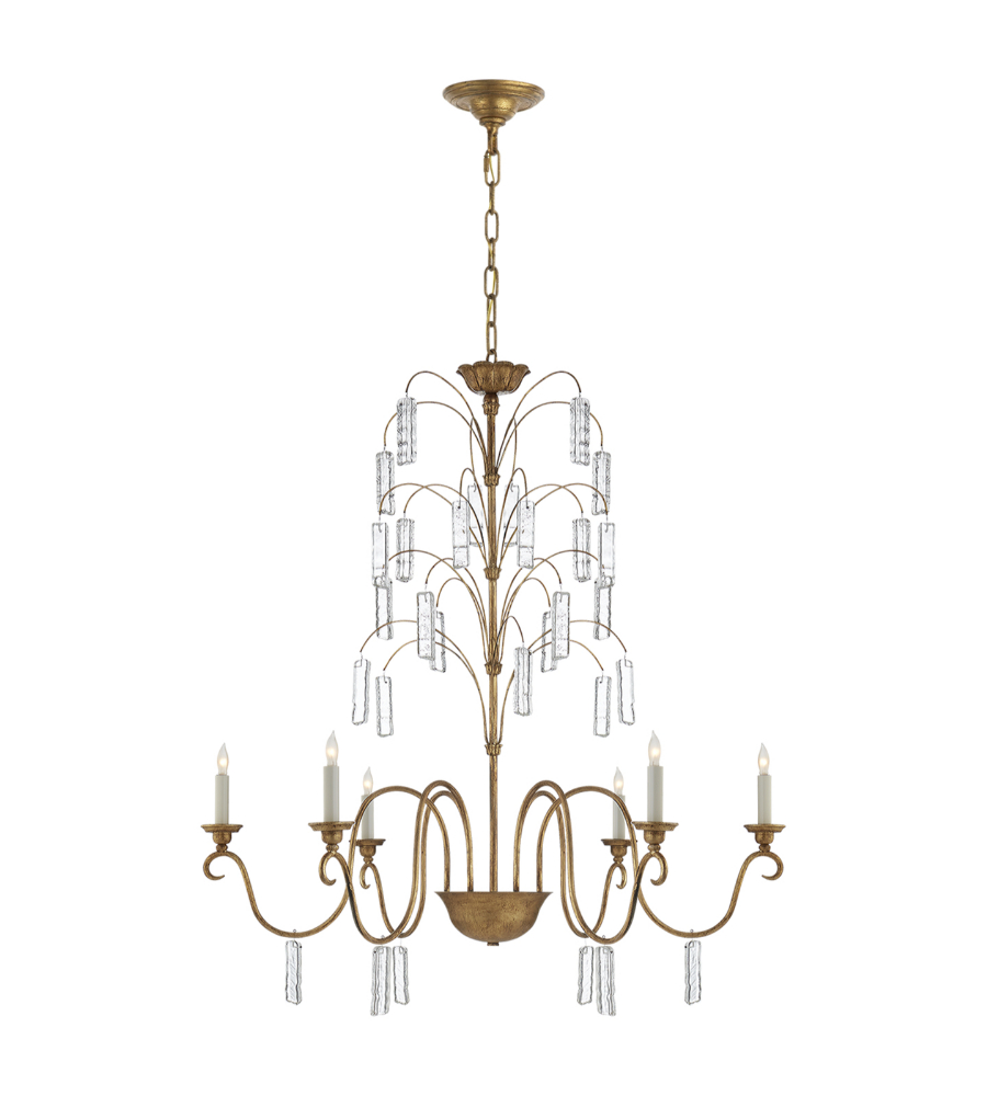 Visual Comfort Chc 5380gi Cg E F Chapman Traditional Multi Arm Branch Chandelier In Gilded Iron With Glass Foundrylighting Com