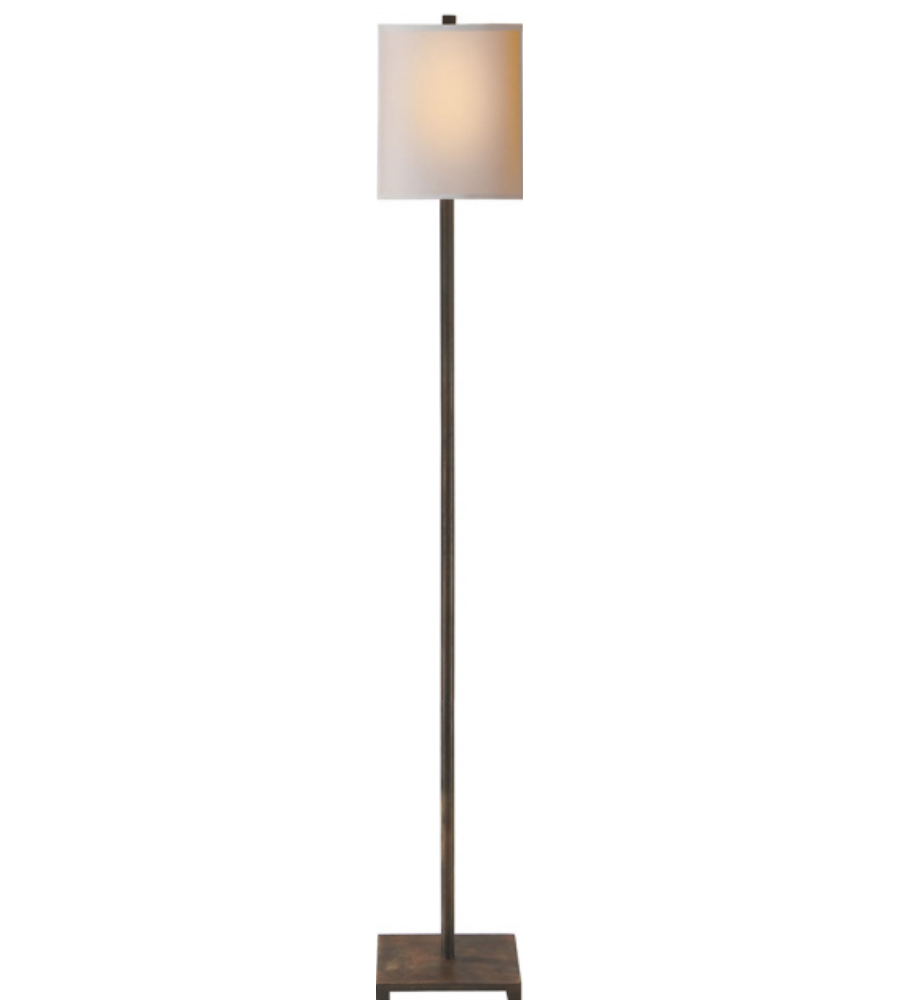 floor lamp in aged iron with natural paper shade. Black Bedroom Furniture Sets. Home Design Ideas