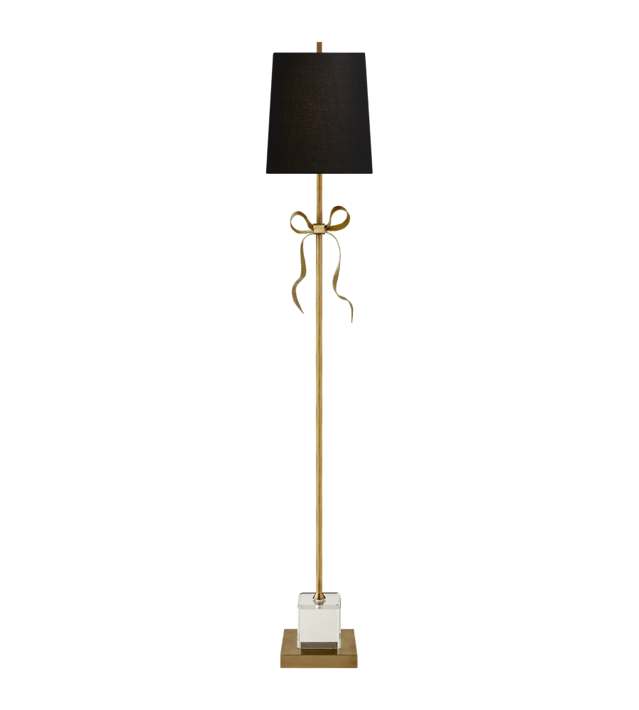 Visual comfort ks 1201sb bl kate spade new york casual ellery gros visual comfort ks 1201sb bl kate spade new york casual ellery gros grain bow floor lamp in soft brass and mirror with black linen shade foundrylighting aloadofball Images