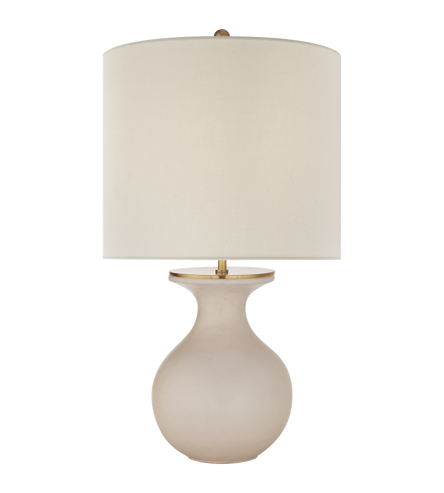 Visual Comfort KS 3616BLS L Kate Spade New York Casual Albie Small Desk Lamp  In Blush With Cream Linen Shade   FoundryLighting.com