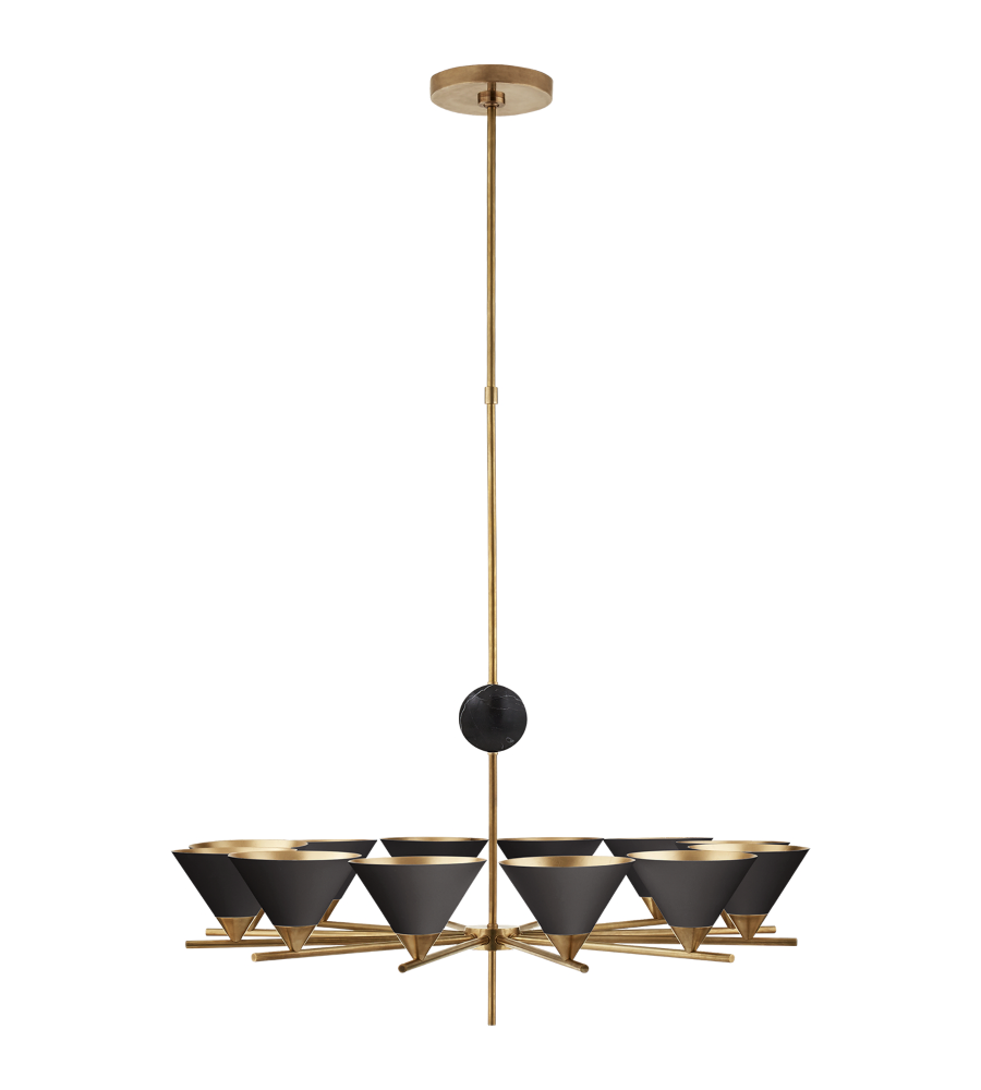 Visual Comfort Kw 5511ab Blk Kelly Wearstler Modern Cleo Large Chandelier In Antique Burnished Brass With Black Shades Foundrylighting Com