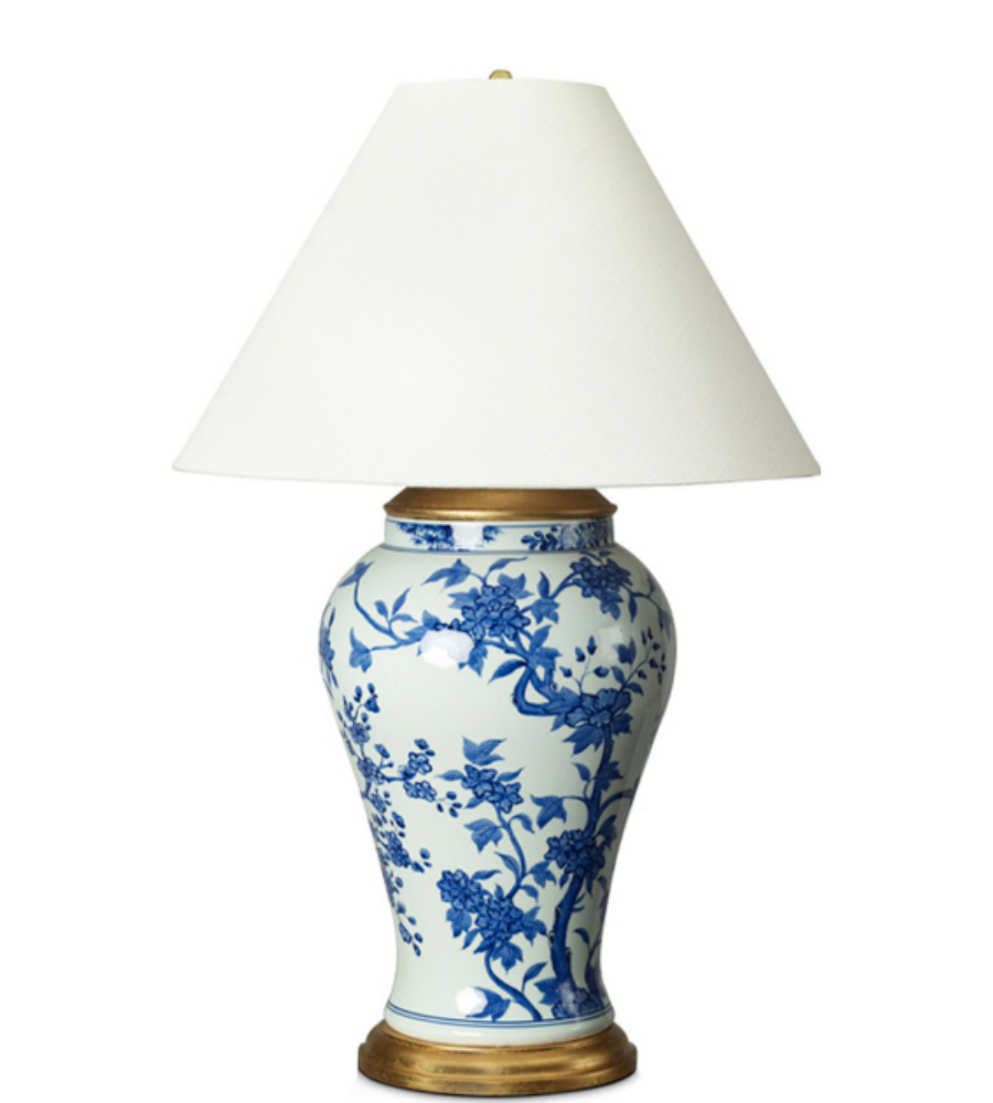 gable table lamp in blue and white porcelain with white paper shade. Black Bedroom Furniture Sets. Home Design Ideas