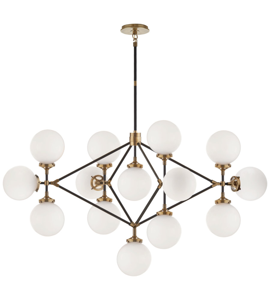 Visual comfort s 5024habblk wg ian k fowler modern bistro four arm visual comfort s 5024habblk wg ian k fowler modern bistro four arm chandelier in hand rubbed antique brass and black with white glass foundrylighting aloadofball Images
