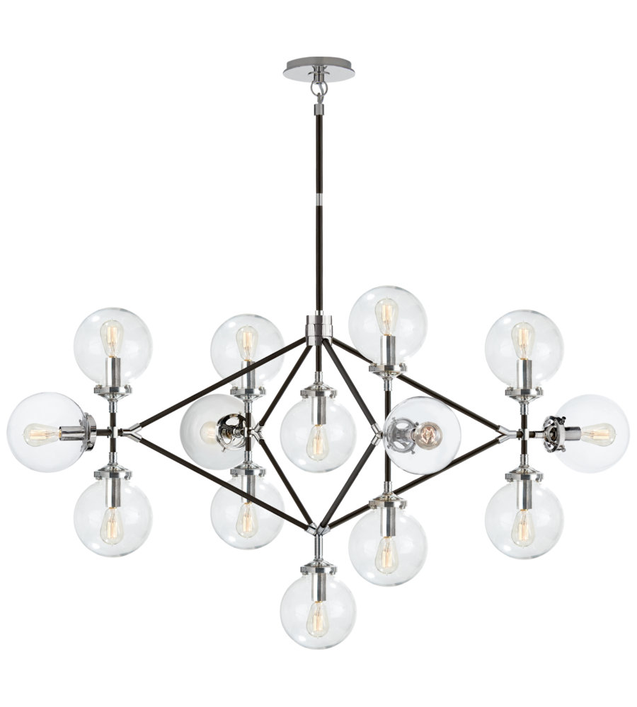 Visual comfort s 5024pnblk cg ian k fowler modern bistro four arm visual comfort s 5024pnblk cg ian k fowler modern bistro four arm chandelier in polished nickel and black with clear glass foundrylighting aloadofball Images