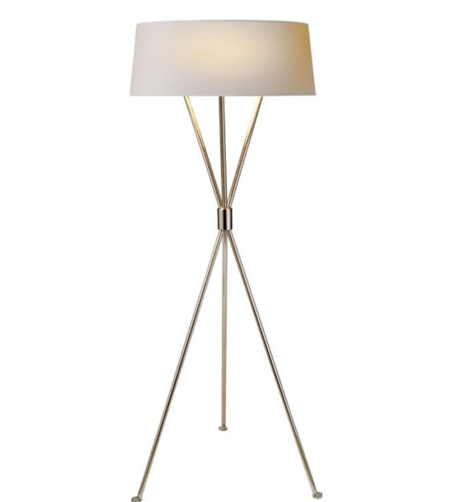 kasler thornton floor lamp in polished nickel with natural paper shade. Black Bedroom Furniture Sets. Home Design Ideas
