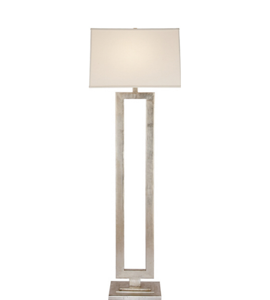 Visual Comfort SK 1008BSL L Suzanne Kasler Modern Modern Open Floor Lamp In  Burnished Silver Leaf With Linen Shade | FoundryLighting.com