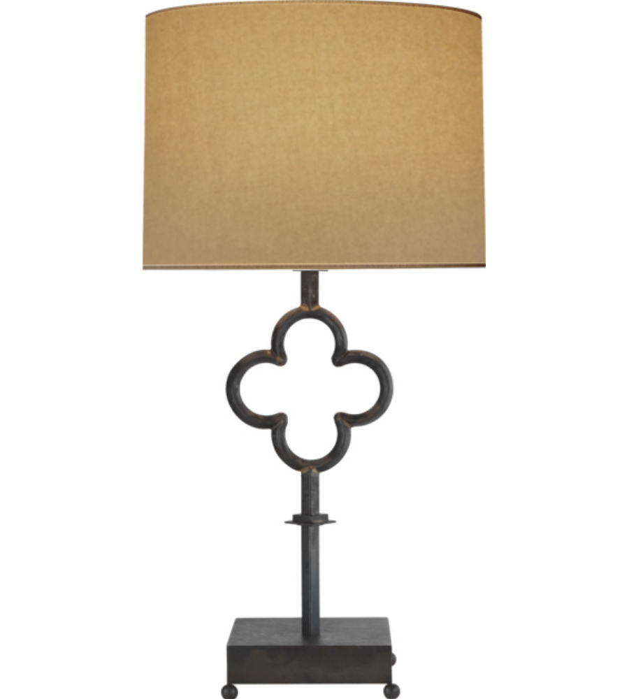 Visual Comfort SK 3500AI L Suzanne Kasler Casual Quatrefoil Table Lamp In  Aged Iron With Linen Shade | FoundryLighting.com