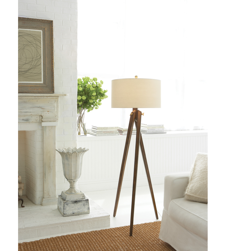 visual comfort sl 1700fwnp e f chapman casual tripod floor lamp in french wax with natural paper shade