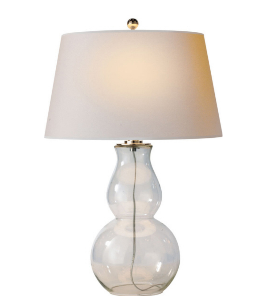Good Visual Comfort SL 3811CG NP E. F. Chapman Casual Open Bottom Gourd Table  Lamp In Clear Glass With Natural Paper Shade | FoundryLighting.com