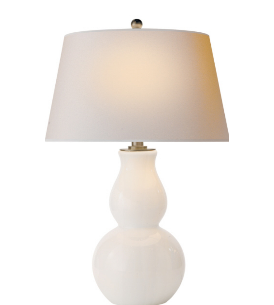 Visual Comfort SL 3811WG NP E. F. Chapman Casual Open Bottom Gourd Table  Lamp In White Glass With Natural Paper Shade | FoundryLighting.com