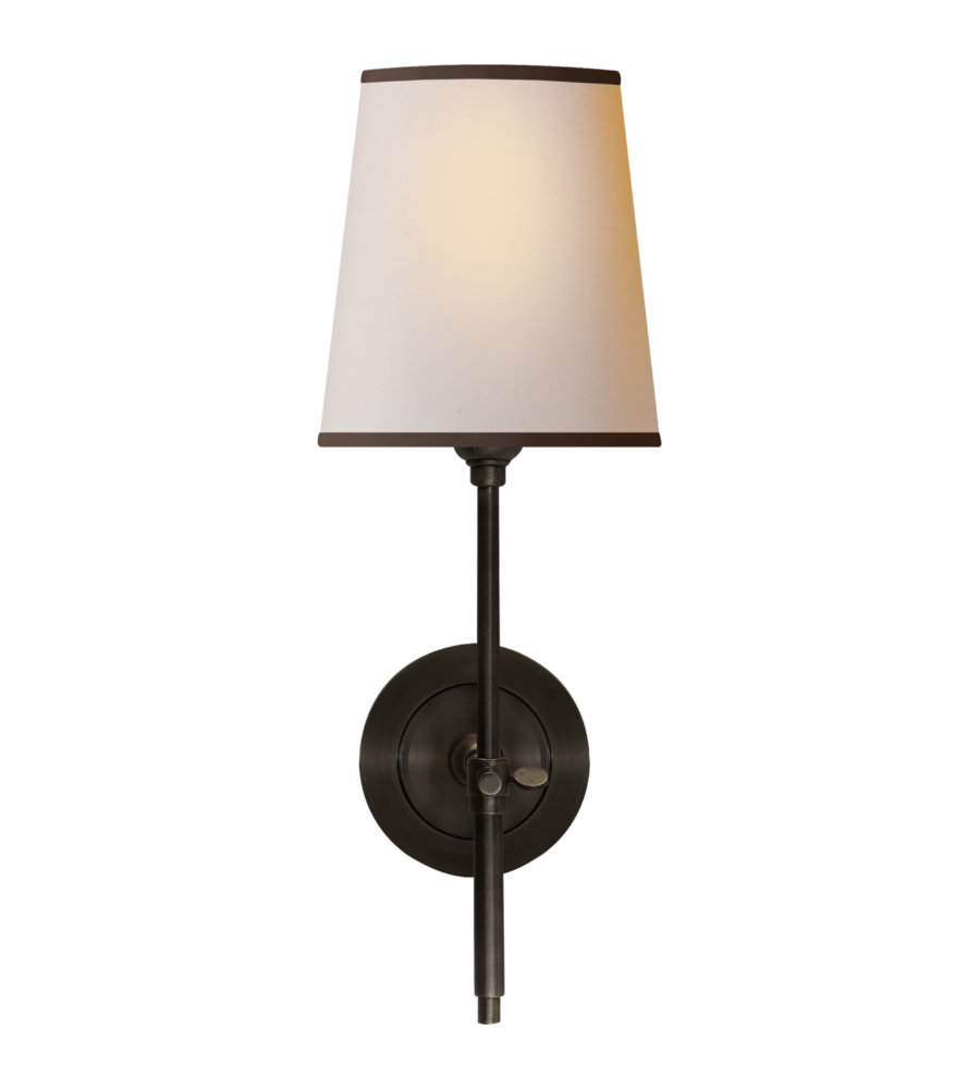 Lovely Visual Comfort TOB 2002BZ NP/BT Thomas Ou0027Brien Modern Bryant Sconce In  Bronze With Natural Paper Shade And Black Tape