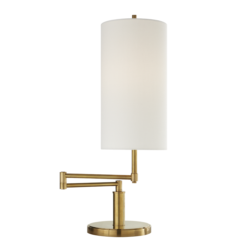 Visual comfort tob 3116hab l thomas obrien modern anton large swing visual comfort tob 3116hab l thomas obrien modern anton large swing arm table lamp in hand rubbed antique brass with linen shade foundrylighting aloadofball Images