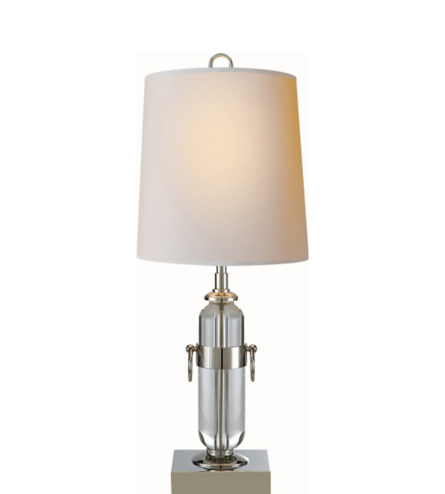 small table lamp in crystal and polished nickel with natural paper. Black Bedroom Furniture Sets. Home Design Ideas