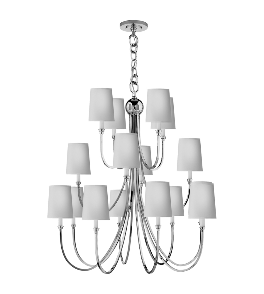 Visual Comfort Tob 5019bz Np Thomas O Brien Modern Reed Extra Large Chandelier In Bronze With Natural Paper Shades Foundrylighting Com