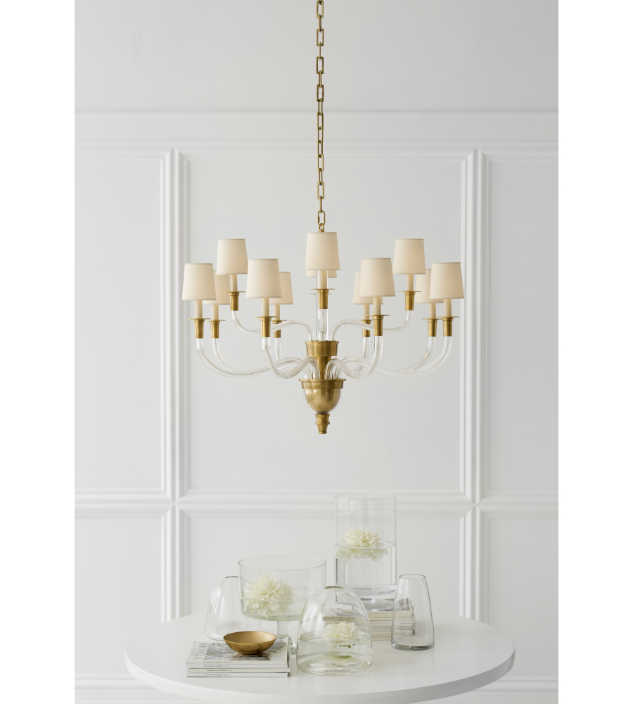 Visual comfort tob 5033hab np thomas obrien modern vivian large two visual comfort tob 5033hab np thomas obrien modern vivian large two tier chandelier in hand rubbed antique brass with natural paper shades aloadofball Choice Image