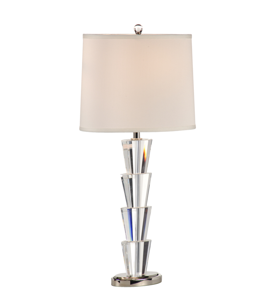 lamps 22292 transitional crystal fountain table lamp in brushed nickel. Black Bedroom Furniture Sets. Home Design Ideas