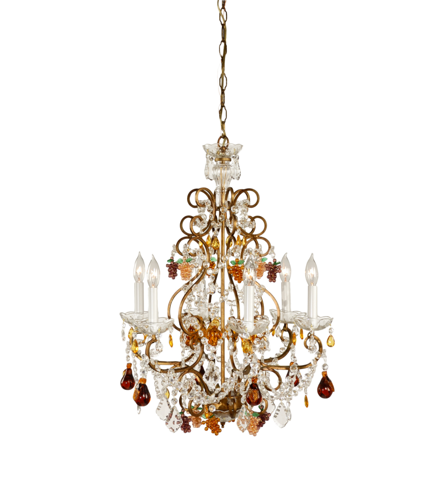 Wildwood lamps 2297 handmade crystal fruit drops lead crystal with wildwood lamps 2297 handmade crystal fruit drops lead crystal with french gold frame 6 light fruits in crystal chandelier foundrylighting aloadofball Image collections