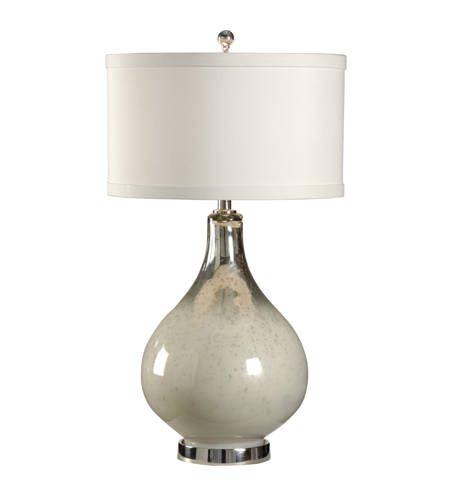 bottle table lamp in art colored glass with polished nickel accents. Black Bedroom Furniture Sets. Home Design Ideas