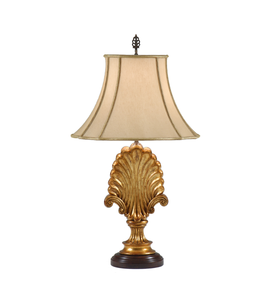 wildwood lamps 9296 shells shell and scrolls table lamp in hand carved acacia wood. Black Bedroom Furniture Sets. Home Design Ideas