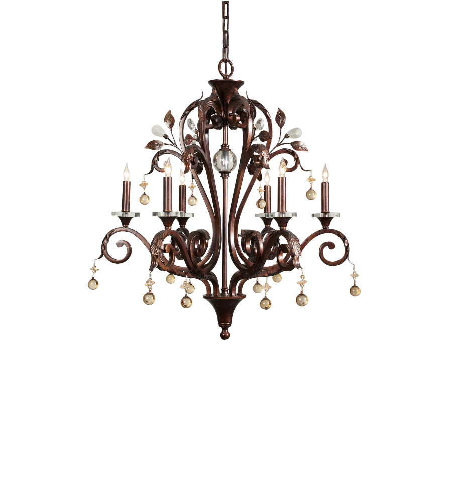 wildwood lamps 9362 wildwood marron chandelier in six lights
